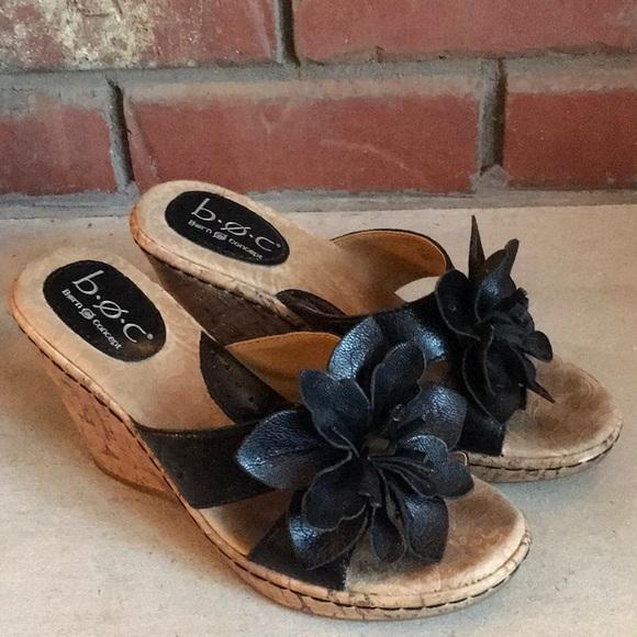 f947c3275a b.o.c. Shoes   Boc Born Black Floral Slide Wedge Sandals Sz 6   Poshmark